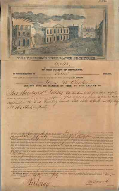 Firemen's Insurance Company of New York, policy, 1832