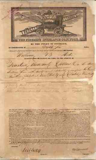 Firemen's Insurance Company of New York, policy, 1836