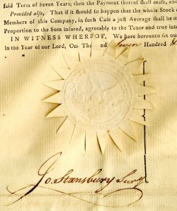 fire insurance policy 1796 seal