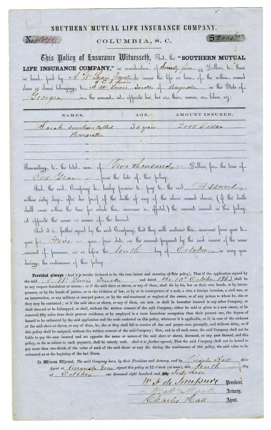 Insurance policy on the life of a slave, 1863