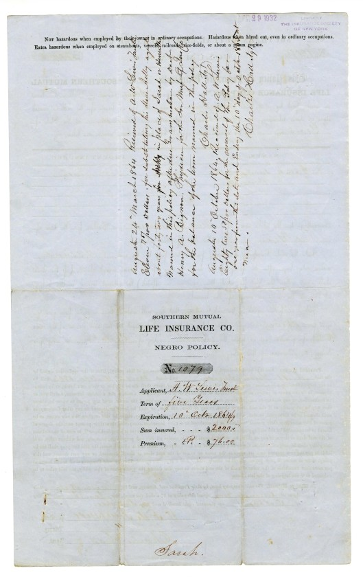 Insurance policy on the life of a slave, 1863, reverse