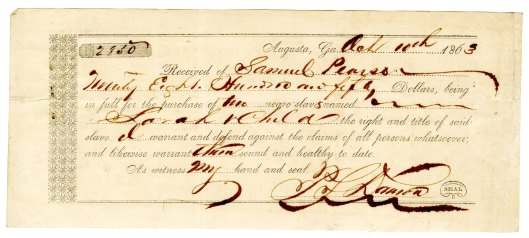 Receipt for the purchase of a slave, 1863