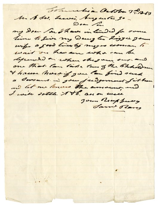 Letter regarding purchase of a slave, 1863