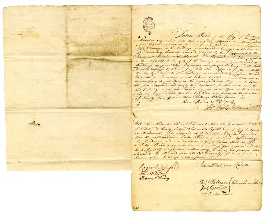 John Reed fire insurance claim 1772 side 1