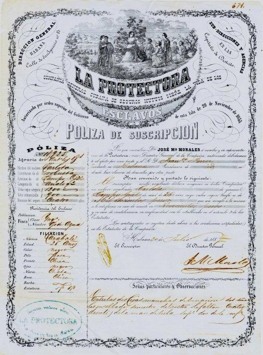 Slave insurance policy, Cuba, 1857