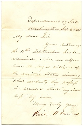 Letter from Seward to Henig 1861