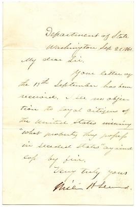Letter from Seward to Henig 1861