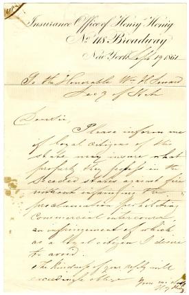 Letter from Henig to Seward 1861